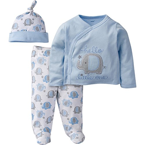 Gerber Baby Boy 3 Piece Side Snap Mitten Cuff Shirt, Footed Pant & Cap, elephant, Preemie