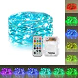 YIHONG Fairy Lights Battery Operated RGB Lights Waterproof 50 LED String Lights 16.5FT Color Changing Firefly Lights with Remote Control for Bedroom Garden Wedding Halloween Christmas New Year Decor
