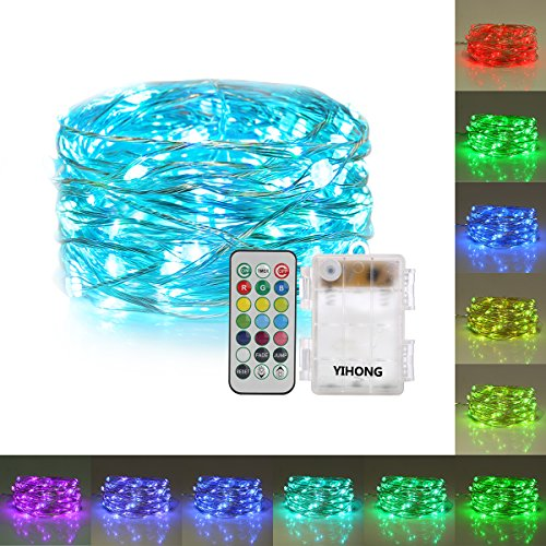 YiHong String Lights Battery Operated with Remote Timer Multicolored Fairy Lights Color Changing RGB Firefly Lights 13 Individual Colors LED Twinkle Lights for Bedroom Patio Party Valentines Day (Color Lights Changing Remote With Led)