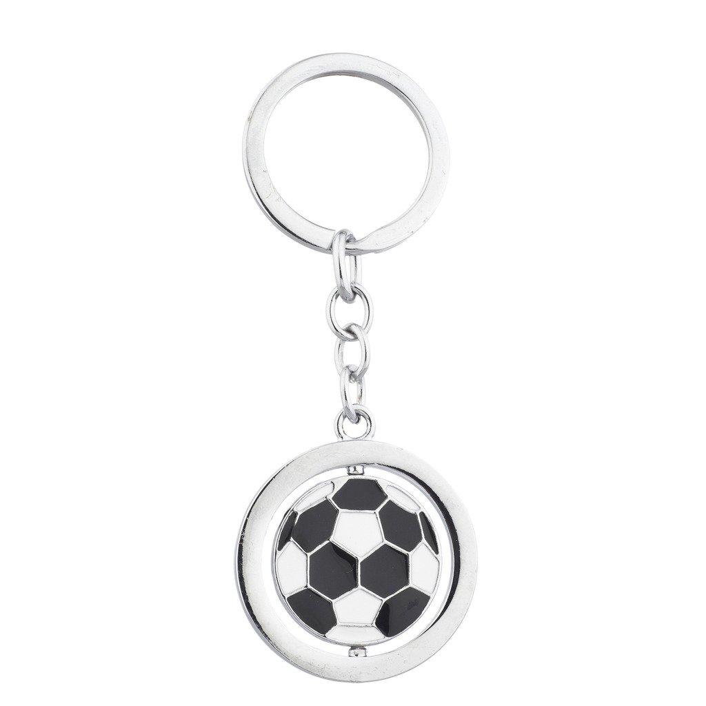 Lux Accessories - Llavero de balón de fútbol, Color Blanco y Negro ...