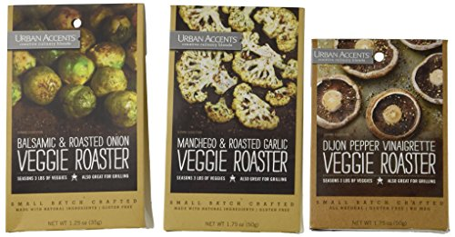 Urban Accents All Natural Gluten Free Veggie Roaster Vegetable Seasoning 3 Flavor Variety Pack: (1) Urban Accents Balsamic & Roasted Onion Veggie Roaster, (1) Urban Accents Dijon Pepper Vinaigrette Veggie Roaster, and (1) Urban Accents Manchego & Roasted  by Urban Accents