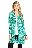 Frumos Womens Sweater Open Front Long Sleeve Printed Cardigan Made In USA
