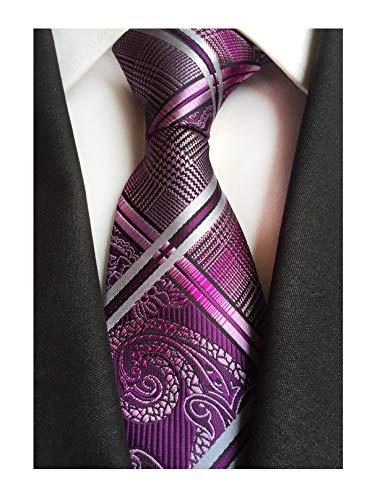 (Secdtie Men's Fashion Purple Jacquard Woven Silk Tie Microfiber Formal)