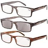 Eyekepper Spring Hinge Striped Reading Glasses (3 Pairs) Men Includes Sun Readers +1.50