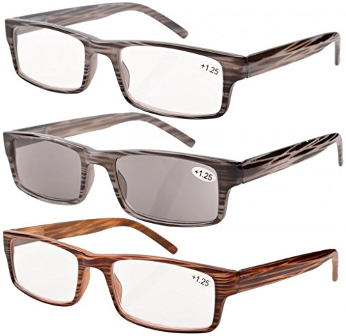 Sun Readers Men Reading Glasses - Eyekepper Spring Hinge Striped Reading Glasses (3 Pairs) Men Includes Sun Readers +1.75