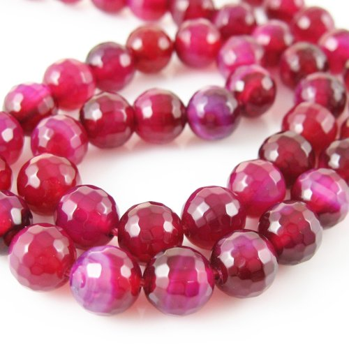Fuchsia Agate Beads - Faceted Round 8mm (Sold Per Strand) ()