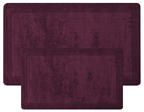 (Super Soft Set of 2 Reversible Bath Rugs - 100% Cotton 21