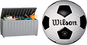 Keter Novel 90 Gallon Resin Deck Box-Organization and Storage for Patio Furniture Outdoor Cushions, Throw Pillows, Garden Tools and Pool Toys, Grey/Black & Wilson Traditional Soccer Ball - Size 3