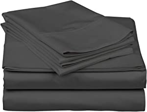600-Thread-Count Best 100% Egyptian Cotton Sheets & Pillowcases Set - 4 Pc Grey Long-Staple Combed Cotton Bedding Full Sheet for Bed, Fits Mattress Upto 18'' Deep Pocket, Soft & Silky Sateen Weave