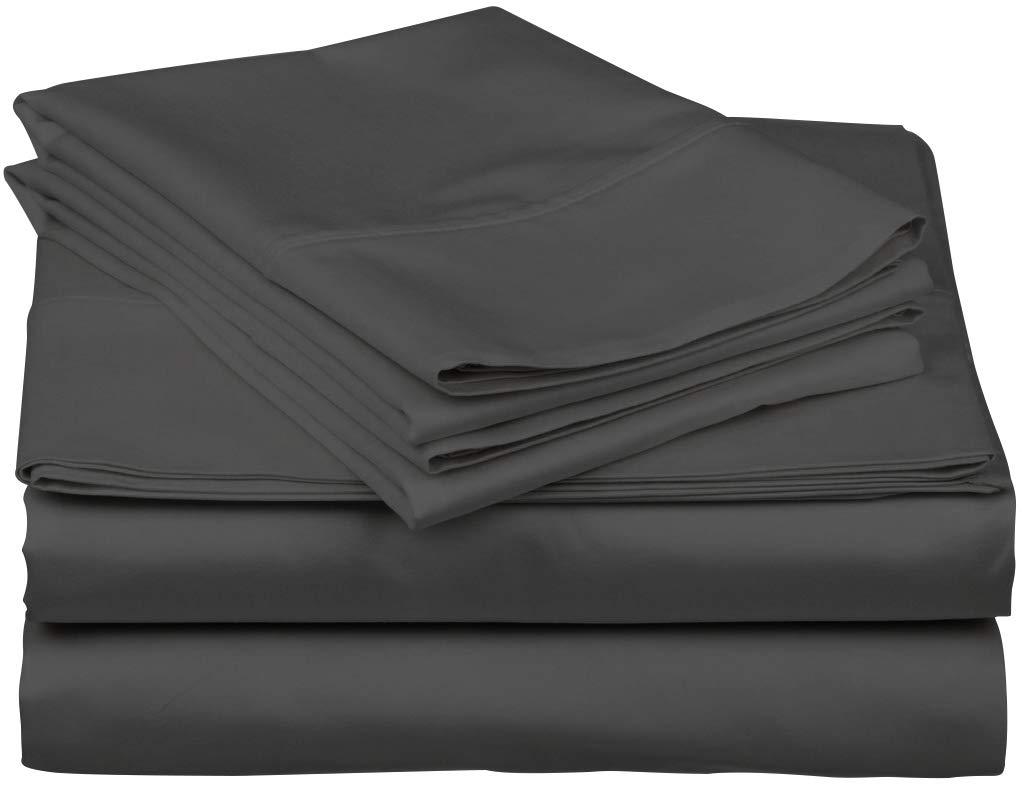 True Luxury 1000-Thread-Count 100% Egyptian Cotton Bed Sheets, 4-Pc Queen Dark Grey Sheet Set, Single Ply Long-Staple Yarns, Sateen Weave, Fits Mattress Upto 18'' Deep Pocket