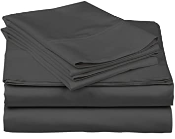 73e8acb20d6e True Luxury 1000-Thread-Count 100% Egyptian Cotton Bed Sheets, 4-Pc Queen  Dark Grey Sheet Set, Single Ply Long-Staple Yarns, Sateen Weave, Fits ...