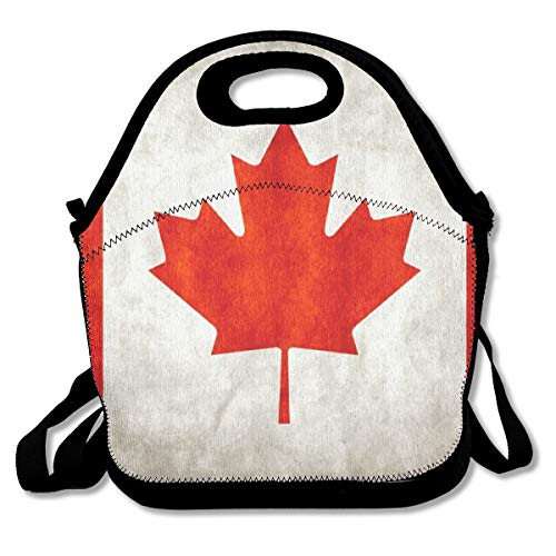Eco-Friendly Neoprene Lunch Bag - Vintage Canada Red Maple Flag - Large Insulated Lunch Sack, Soft Cooler/Hot Bag for School/Beach/Picnic/Camping/BBQ