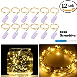 12 Pack 20 LED Starry String Lights CR2032 Battery Operated, Warm White Fairy LEDs on 5ft Silver Coated Copper Wire