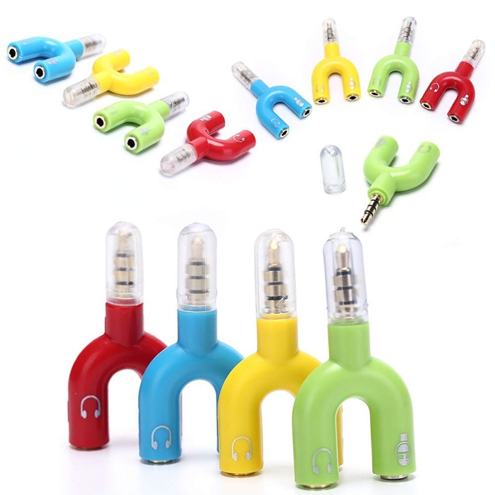 3.5mm Audio Jack Headphone Speaker Microphone Mic Stereo U Splitter Converter Adaptor (White)