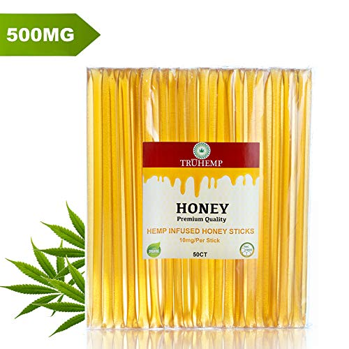 Hemp Oil Honey Sticks 500MG - 10MG Per Stick, Pure Hemp Extract Oil for Calm and Comfort | Zero THC | Orgainc Made in The USA |