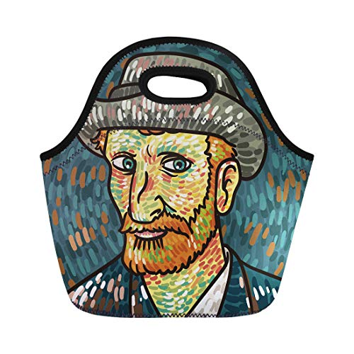 Semtomn Lunch Tote Bag Colorful Vincent Van Gogh Painting Portrait Museum Impressionism Beard Reusable Neoprene Insulated Thermal Outdoor Picnic Lunchbox for Men Women