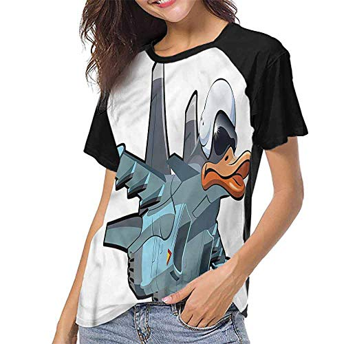 Female Tops,Airplane,Jet Bird Angry Comic Craft S-XXL Women's Short Sleeve Tops -