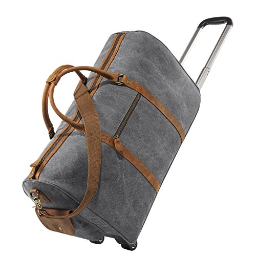 Kattee Rolling Duffle Bag with Wheels Canvas Travel Luggage Duffel Bag 50L (Light Gray)