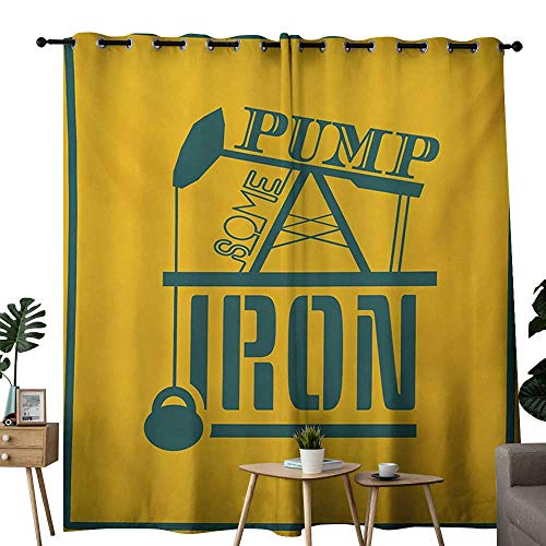 Kendall Pump Sets - NUOMANAN Bathroom Curtains Fitness,Pump Some Iron Quote in Vintage Frame Oil Pump Power Lifting Weight Icons,Petrol Blue Marigold,Room Darkening Waterproof Curtains for Bathroom 54