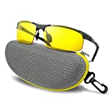 BLUPOND Night Driving Glasses - Anti-glare HD Vision - Yellow Tint Polarized Lens - Safety Sunglasses for Men and Women Plus Car Clip Holder (Titanium, Yellow)