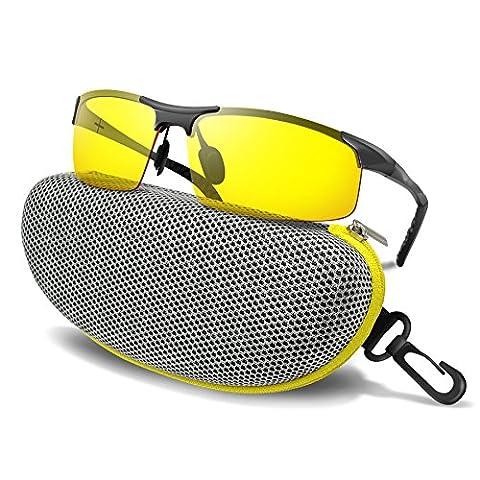 BLUPOND Night Driving Glasses - Anti-glare HD Vision - Yellow Tint Polarized Lens - Safety Sunglasses for Men and Women Plus Car Clip Holder (Titanium, (Aluminum Case Sunglasses)