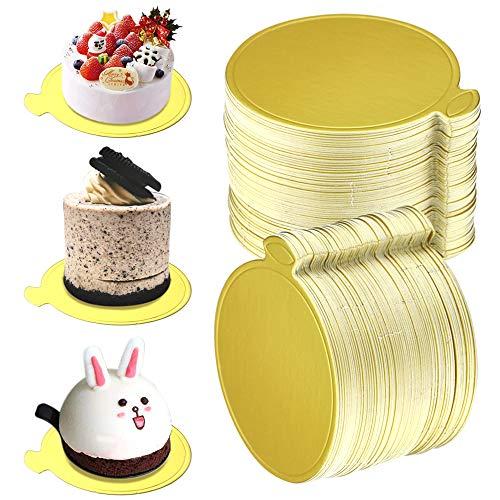 UPlama 200PCS Round Mini Cake Boards, Gold Circle Base Paper Cupcake Dessert Displays Tray Decorating Cakes Pastries Party Wedding Birthday Catering & Restaurant Bakeware