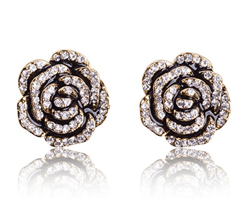 MISASHA Camellia Black Flower Celebrity Designer Earrings For (Chanel Inspired Earrings)