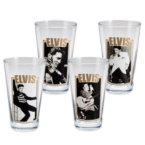 Vandor 47112 4-Piece Elvis Presley Glass Set, 16-Ounce, - Elvis Memorabilia Presley