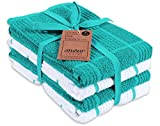 AMOUR INFINI Terry Dish Towel   Set of 4   16 x 26 Inches   Durable, Soft and Absorbent  100% Cotton Dishtowels   Perfect for Household and Commercial Uses   Teal