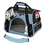 OxGord Airline Approved Pet Carriers with Fleece Bed For Dog & Cat, Large, Mineral Blue