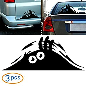Wannabuy 3 X Cute Peeking Monster Scary Eyes Car Decal / Sticker for Laptop Ipad Window Wall Car Truck Motorcycle (Theft, Black)