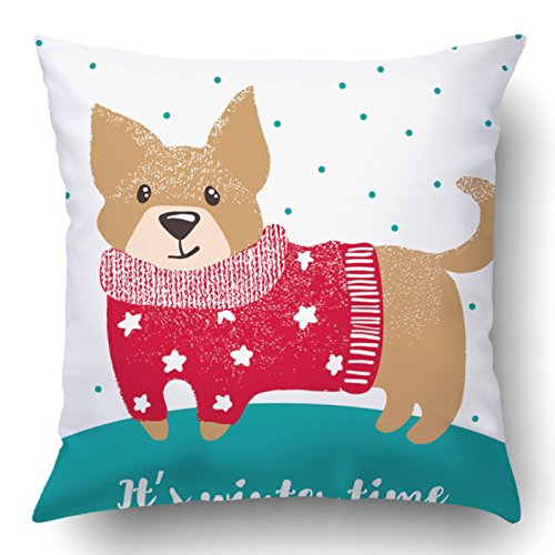 Soksar Throw Pillow Cover New Year Greeting With Cute Drawn Dog Winter Warm Sweater Christmas Home Sofa Decor Square 20x20 Inch Zipper Cushion Decorative Print Pillowcase Design Two Side - Kid Drawn Calendar Cover