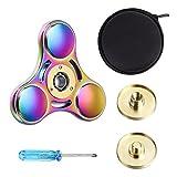 Rainbow Brass Tri-Spinner EDC Fidget Spinner Focus Toy Fingertip Gyro USA Ship