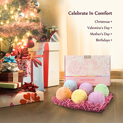 Anjou-Bath-Bombs-Gift-Set-6-x-40-oz-Vegan-Natural-Essential-Oils-Dry-Flowers-lush-Fizzy-Spa-Moisturizes-Dry-Skin-Bubble-Baths-Best-Gift-Kit-Ideas-for-Girlfriends-Women-Moms