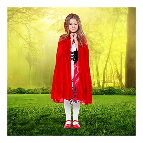 Deer Mum Girls Cosplay Costumes Little Red Riding Hood Cozy Dress With Cape -