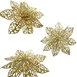 XmasExp 10 Pcs Glitzy Gold Poinsettia Bushes