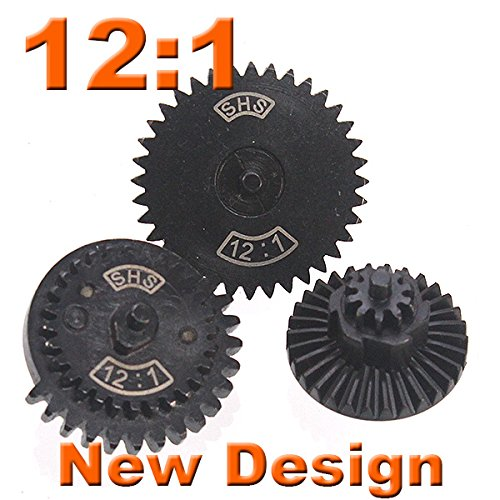 12:1 SHS New Design CNC Extreme High Speed Gear for Ver.2/ 3 Airsoft Gearbox AEG [For Airsoft Only] by AirsoftGoGo