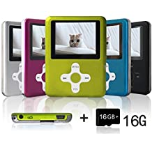 Lecmal Portable MP3/MP4 Player with 16GB Micro SD Card, Economic Multifunctional Music Player with Mini USB Port, MP3 Voice Recorder, Media Player for Kids-16GB-Green