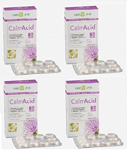 Biosline – CalmAcid - 4 paquetes de 20 tabletas para la acidez, el ardor estomacal