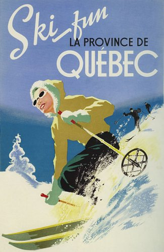 SKI IN CANADA PROVINCE DE QUEBEC SKIING WINTER SPORTS LARGE VINTAGE POSTER REPRO
