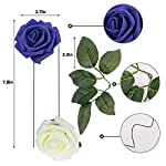 Meiliy-60pcs-Artificial-Flowers-Navy-Ivory-Roses-Real-Looking-Foam-Roses-Bulk-wStem-for-DIY-Wedding-Bouquets-Corsages-Centerpieces-Arrangements-Baby-Shower-Cake-Flower-Decorations
