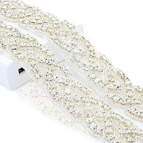 ShiDianYi Crystal Trim, 1 Yard Rhinestone Trim, Rhinestone Applique, Bridal Applique, DIY Wedding Applique, Sash Applique, Bridal Headpiece