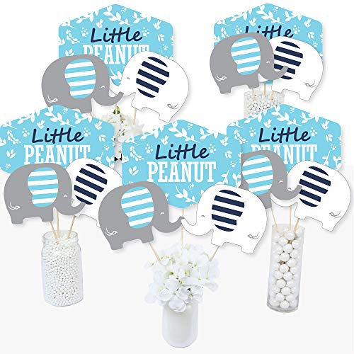 Blue Elephant - Boy Baby Shower or Birthday Party Centerpiece Sticks - Table Toppers - Set of 15 -