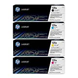 HP 131A Toner Cartridges CF210A CF211A CF212A CF213A (Black/Cyan/Magenta/Yellow) - For Hp Laserjet M251nw, M276nw Printers + InkSaver MicroFiber LCD Screen Cleaning Cloth