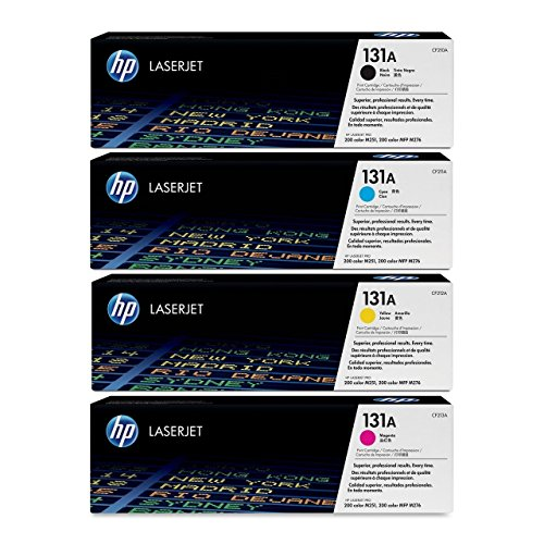 HP 131A Toner Cartridges CF210A CF211A CF212A CF213A (Black/Cyan/Magenta/Yellow) - For Hp Laserjet M251nw, M276nw Printers + InkSaver MicroFiber LCD Screen Cleaning Cloth by HP