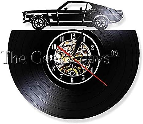 NMDD Classic Vintage Retro Car con Road Mark Wall Art Reloj de Pared Deportes Automóvil Racecar Vinyl Record Reloj de Pared Amantes del automóvil Regalo