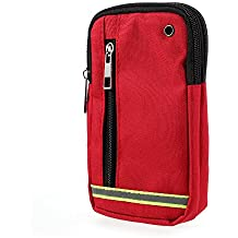 DFV mobile - Multipurpose Reflective Universal Belt Case with 3 Compartments for => ZTE Nubia N2 (2017) > Red