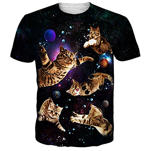 NEWISTAR Mens Funny Space Cat T-Shirt Casual Graphic Tees S