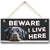 Meijiafei Beware I Live Here Rottweiler Hanging Outdoor Dog Warning Sign Gate Security Plaque 10''X5''