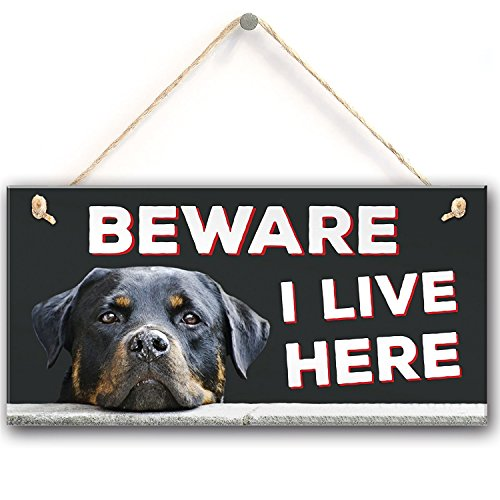 "Meijiafei Beware I Live Here Rottweiler Hanging Outdoor Dog Warning Sign Gate Security Plaque 10""X5"""